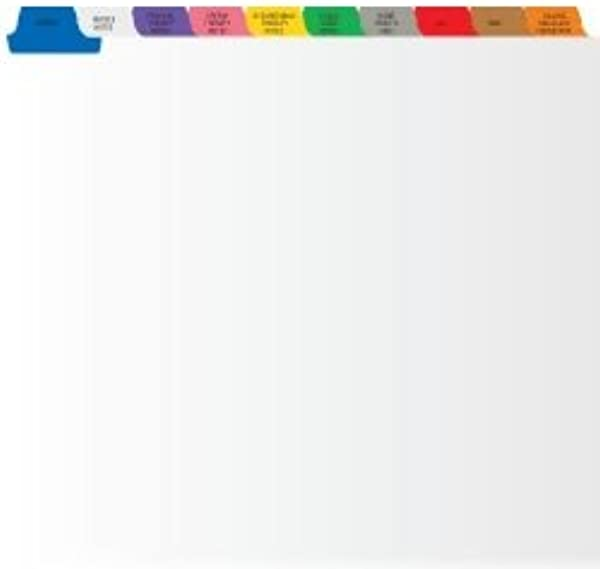 Medical Home Healthcare Tab Divider Set 10 Preprinted Side Tabs White Stock Box Of 25 Sets