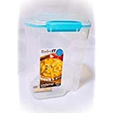 Sistema Bake It Food Storage for Baking Ingredients, Flour Container with Measuring Cup, 13.7 Cups, Clear with Aqua Accents