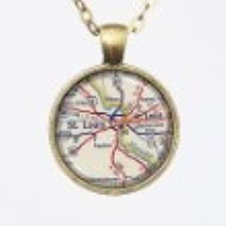St. Louis Map Necklace, Vintage Custom Map Pendant Necklace -St. Louis, MO, City Pendant Series