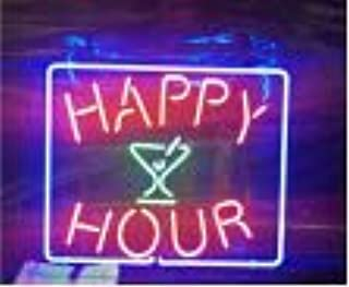 Happy Hour Hand Crafted Glass Tube neon Sign 17(w) insx13(h) ins Neon Sign Lights Beer Bar Sign