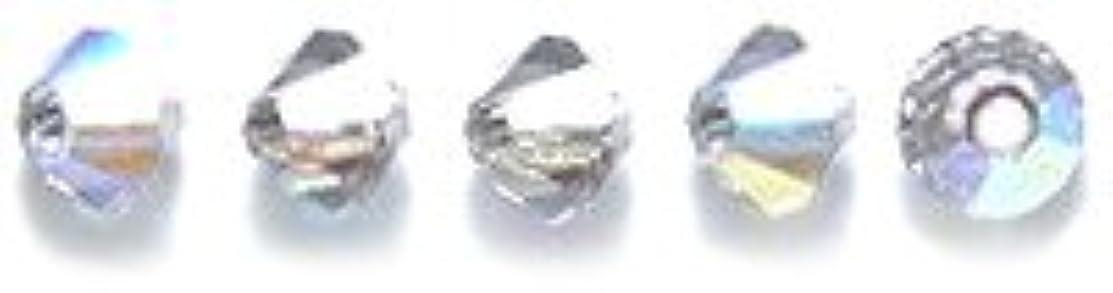 Preciosa 3-Mm Czech Crystal Diamond/Bicone Bead, Black Diamond Aurora Borealis, 144-Piece