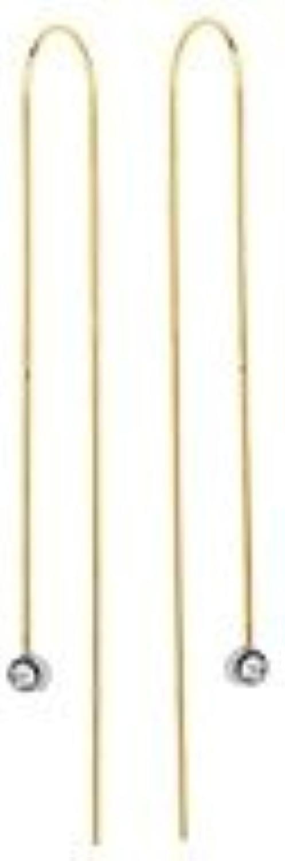 mejor moda Pendientes largos de alambre de oro amarillo amarillo amarillo y blancoo de 14 quilates, Diseño lineal, 3 piezas  mejor calidad mejor precio