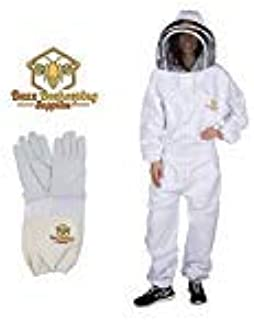 Buzz Beekeeping Supplies Professional Beekeeping Suit and Goatskin Gloves (1 Pair) Self-Supporting Fencing Veil and YKK Me...