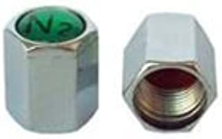 ECCO SKU 602-1,000 Pak Nitrogen Valve Stem Caps - Green Plastic N2 Insert - Chrome Plated ABS Complete with Silicone Inner Seal