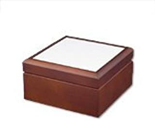 Dark Wood Jewelry Box w/ 4 1/4'' Ceramic Tile Coated for Sublimation