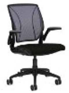 Diffrient World Office Chair Frame/Back Textile-Color/Seat Textile-Color: Black/Monofilament Stripe-Atlantic/Wave-Black
