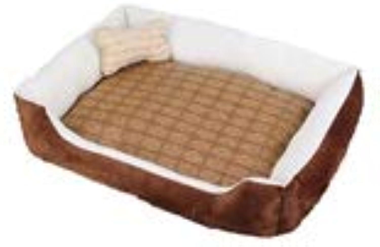 Kaiyitong Dog Bed, Pet Mat, Small, Medium Dog, Large Dog Orthopedic Dog Bed, Pet Bed Dog Cat Universal, (black, Red, Brown XS3XL) fashion (color   Brown+mat+bone pillow, Size   XXXL)