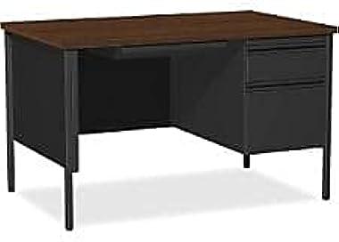 Lorell Single Right Pedestal Desk, 48 by 30 by 29-1/2-Inch, Black Walnut