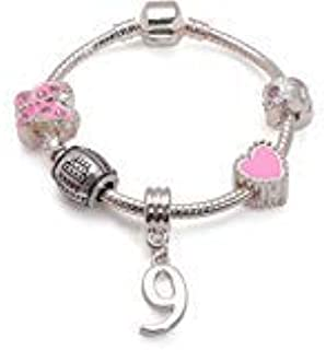 Liberty Chams Children's 'Pink Happy 9th Birthday' Silver Plated Charm Bead Bracelet