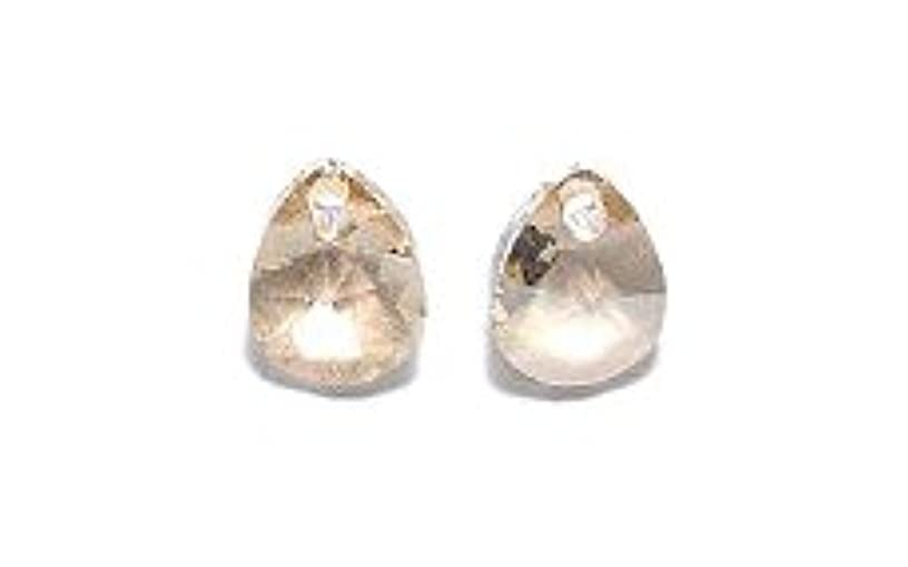 Swarovski 6128 Xilion Pear Drop Beads, Crystal, Golden Shadow, 8mm, 12 Per Pack