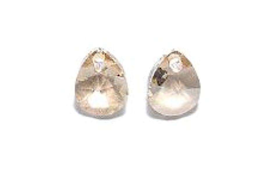 Swarovski 6128 Xilion Pear Drop Beads, Crystal, Golden Shadow, 8mm, 12 Per Pack