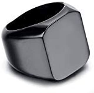 Mens Stainless Steel Ring Black Polished