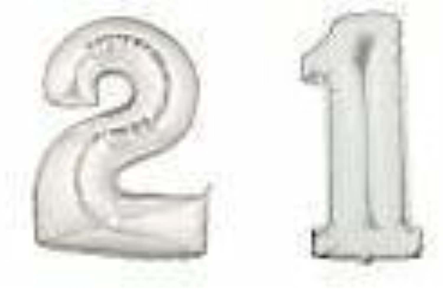 Bettalic Giant Silver Number '21' Foil Balloons Decoration by Bettalic