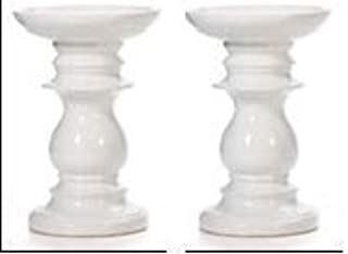 Hosley Set of 2 Ceramic White Pillar Candle Holders 6 Inch High Ideal for LED and Pillar Candles Gifts for Wedding Party Home Spa Reiki Aromatherapy Votive Candle Gardens W5