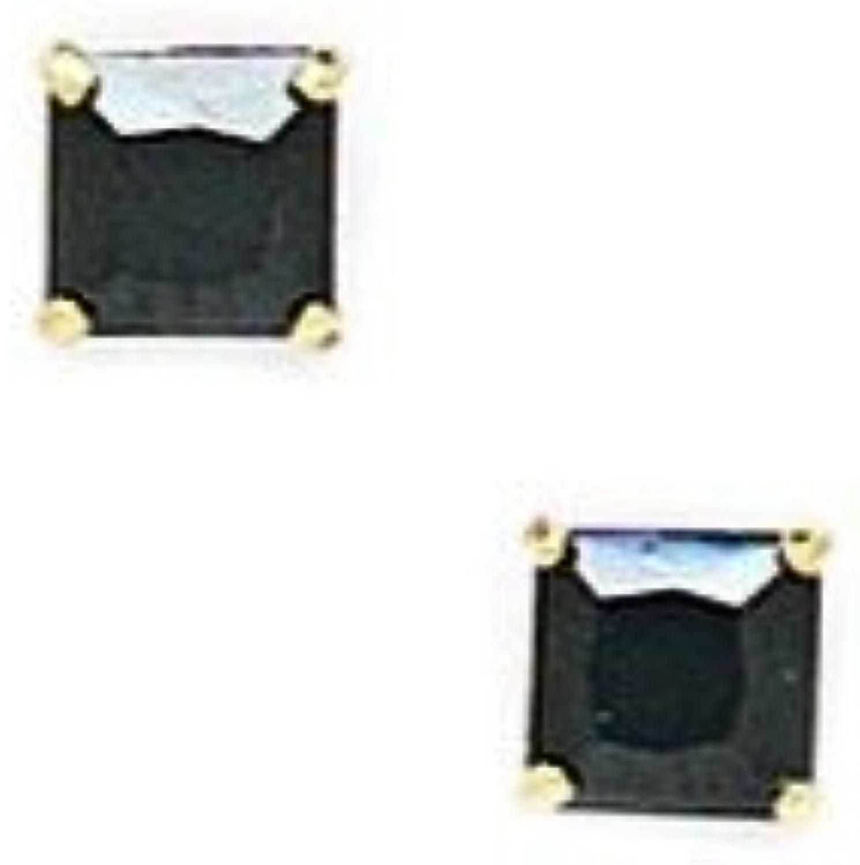 14 Karat (585) yellowgold black, 4 x 4 mm, quadratisch, Zirkonia, Set Ohrringe JewelryWeb