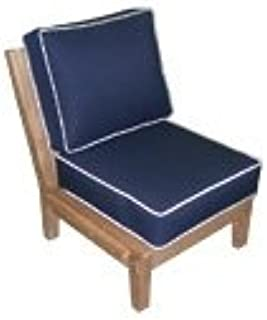 Royal Teak Miami Sectional Armless Chair - Navy with Off-White Piping