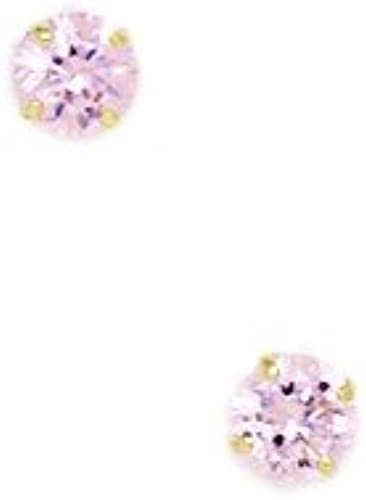 14Karat GelbGold Oktober Geburtsstein Rosa 4  Rund CZ Korb Set Ohrringe JewelryWeb