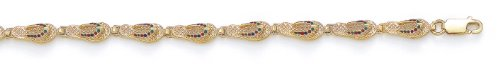 14ct Geel Goud Emaille Flip-Flop Armband - 7.25 Inch