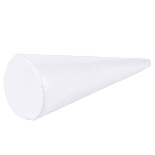 4 Pack Styrofoam Cones - Craft Foam Cones for Arts and Crafts Use, DIY Decoration and School Project - 4.5 x 13.5 inches White