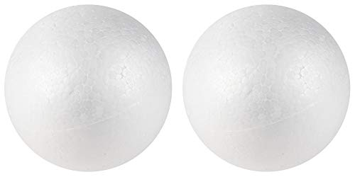 Craft Foam Balls - 2-Pack Large Smooth Round Polystyrene Foam Balls, Craft Supplies, Perfect for Art, Ornaments DIY, Wedding Decoration, Science Modeling, School Projects, White, 6 Inches Diameter