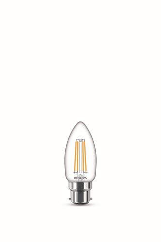 Philips Lampadina LED Oliva Filamento, Equivalente a 40W, Attacco B22, Luce Bianca Calda, non Dimmerabile