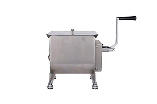 Commercial Stainless Steel Manual Meat Mixers with lid,40Lb 20L Tank,(Mixing Maximum 30-Pound for Meat),Sausage Mixer Machine Meat Processing Equipment With Gear