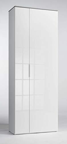 AVANTI TRENDSTORE - Cinzia - Mobili da Ingresso e da Soggiorno, in Laminato di Colore Bianco Lucido e Grigio Cemento d'imitazione (Armadio da Guardaroba)
