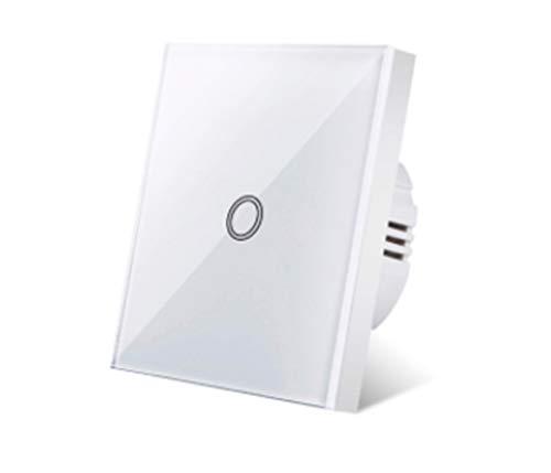 GUODONG MAYE2021 Interruptor UBARO Panel de Cristal lámpara de Pared de la Pantalla táctil de Cristal Blanco estándar Interruptor del Tacto de 2 Elementos (Color : ZS BW001)