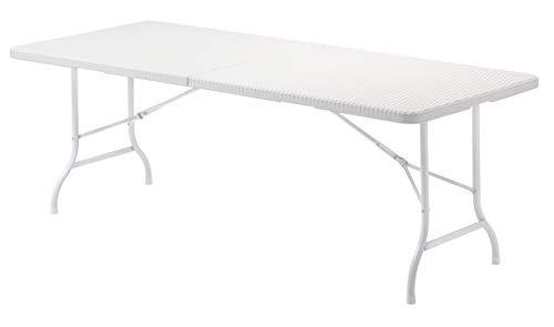 KG KitGarden - Mesa Plegable Multifuncional, 180x75x74cm, Blanco Imitación Ratán, Lux 180
