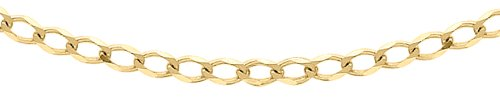 Carissima Gold Unisex 9 ct Yellow Gold 1.6 mm Flat Curb Chain Necklace of Length 51 cm/20 Inch