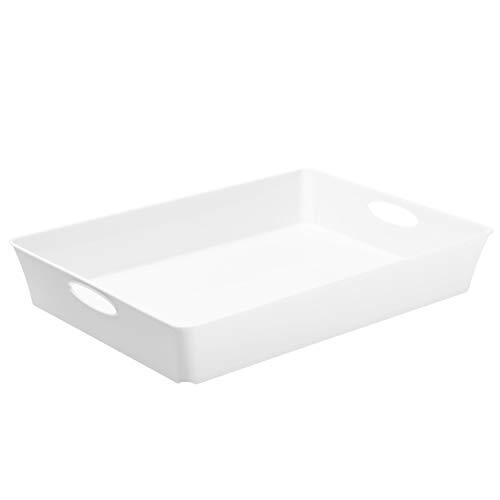 Rotho Living Boîte de Rangement Plat, Plastique, Blanc, 4,5L