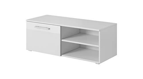 E-Com 7E026 TV-Schrank Lowboard, Spanplatte/MDF, weiß, 100 cm