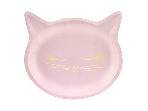 PartyDeco Lot de 6 grandes assiettes moulées, chaton rose.