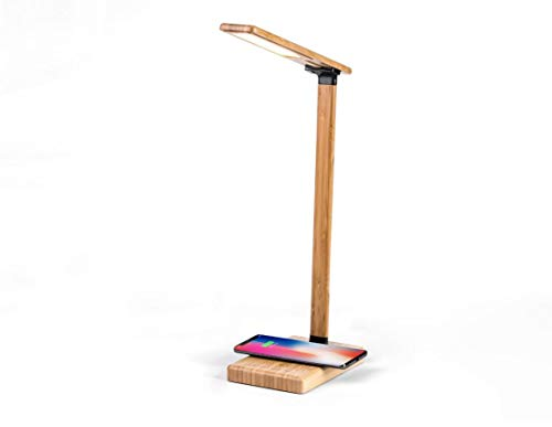 Kampany Wireless Charger Intelligent LED Touch Desk Lamp Home Office Desk Lamp, Wireless Charging and USB Charging Supporting, for Reading, Studying, OEM Environmental Bamboo Protection Material