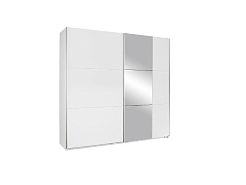 Rauch Möbel Kronach Schrank Schwebetürenschrank, 2-türig, Weiß mit 1 Spiegel, inkl. Zubehörpaket Basic 2 Kleiderstangen 2 Einlegeböden, BxHxT 218x210x59 cm