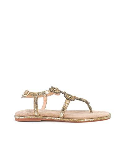 Sandalias Planas de Mujer Alma en Pena Color Dorado. V21BL9014 Coco Metalizado Bronze - Talla: 37