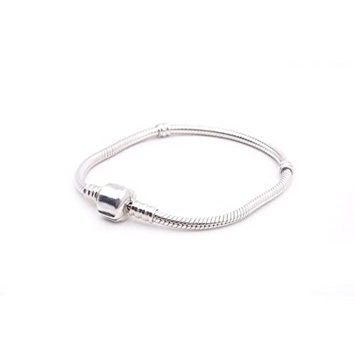 Q4S Pulsera Y Brazalete De Cadena De Serpiente De Plata De Ley 925 Pulsera De 16-23 Cm para Mujer-17cm