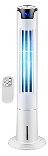 KKJKK 43' Ventiladores Oscilantes con Entorno Nocturno 80 ° de Ancho Ventilador de Torre con Remoto 3 Velocidades Ventilador de Piso Sin Aspas Temporizador de 12 H Ventiladores de Pie,H110cm