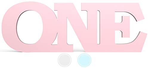 ONE Letters First Birthday for 1st Birthday Girl Cake Smash Photoshoot - Free Standing and Giant Number ONE Wooden Letter Sign Prop in Baby Pink - One Year Old 1st Birthday Girl Decoration