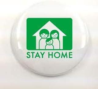 ステイホーム STAYHOME 東京都 缶バッジ 新型コロナウイルス対策支援寄付 グッズ (白, 小)...