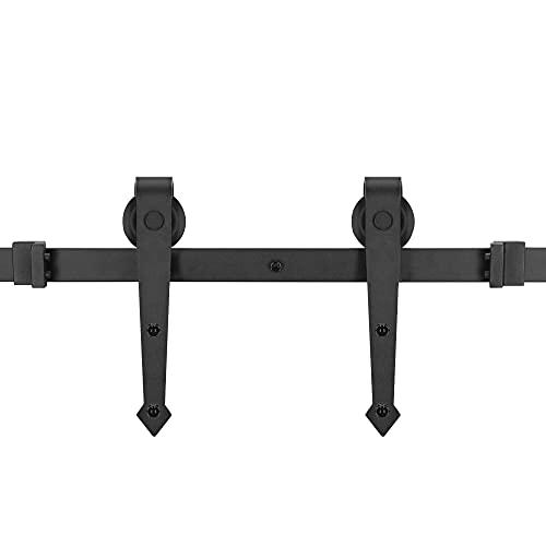 SPRINGOS Herraje para puerta corredera, riel con ruedas para puertas correderas de madera, estilo rústico (183 cm, tipo flecha)