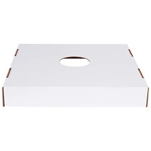 Corrugated Trash Can Lid with Hole, 40 and 50 Gallon, 18' x 18' x 3', White, 10/Bundle