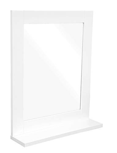 osoltus Hampton Badspiegel mit Ablage für kleine Badezimmer weiß