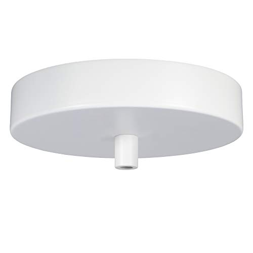 Flea Market Rx 5 Inch Pendant Canopy Kit with Lamp Cord Strain Relief, Ceiling Light Cover Plate & All Mounting Hardware for Hanging Style Lighting Fixtures, 25 LB Rated, Made in USA (White)