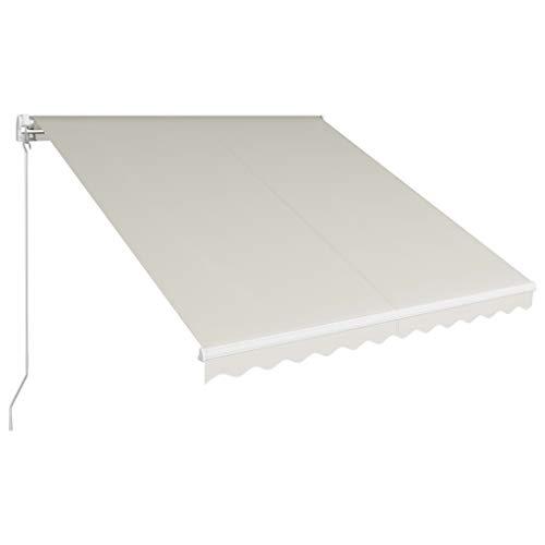 UnfadeMemory Einziehbare Markise Handbetrieben Außenmarkise Terrassenmarkise Balkonmarkise 300 x 250 cm Pulverbeschichteter Aluminiumrahmen und Stoff mit UV-Schutzbehandlung (Creme)