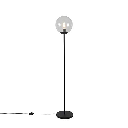 QAZQA Art Déco Lámpara de pie Art Deco negra vidrio transparente - PALLON Mezzi/Acero Alargada Adecuado para LED Max. 1 x 40 Watt