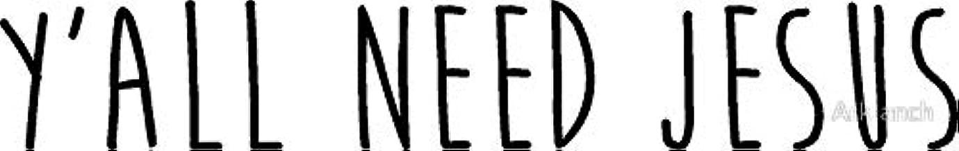 LA STICKERS Y'all Need Jesus 2.0 - Sticker Graphic - Auto, Wall, Laptop, Cell, Truck Sticker for Windows, Cars, Trucks
