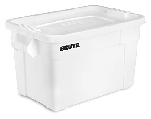 Rubbermaid Commercial Products Brute Tote Storage Container With Lid, 20-Gallon, White (Fg9S3100Wht)