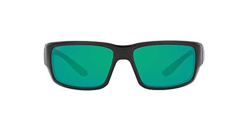 Costa Del Mar Men s Fantail 580G Polarized Rectangular Sunglasses, Matte Black Copper Green Mirrored Polarized-580G, 59 mm