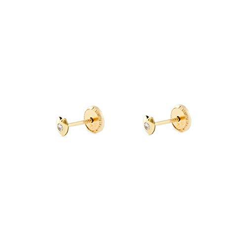 Orecchini per Bambini cuore zircone- oro giallo 9k (375)